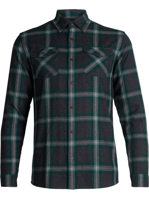 Icebreaker M's Lodge LS Flannel Shirt Jet Heather/Dark Pine/Plaid